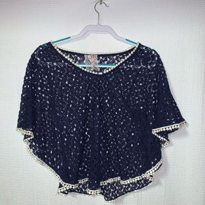 MAUVE Lace & Pom Pom See Through Top Size Smal